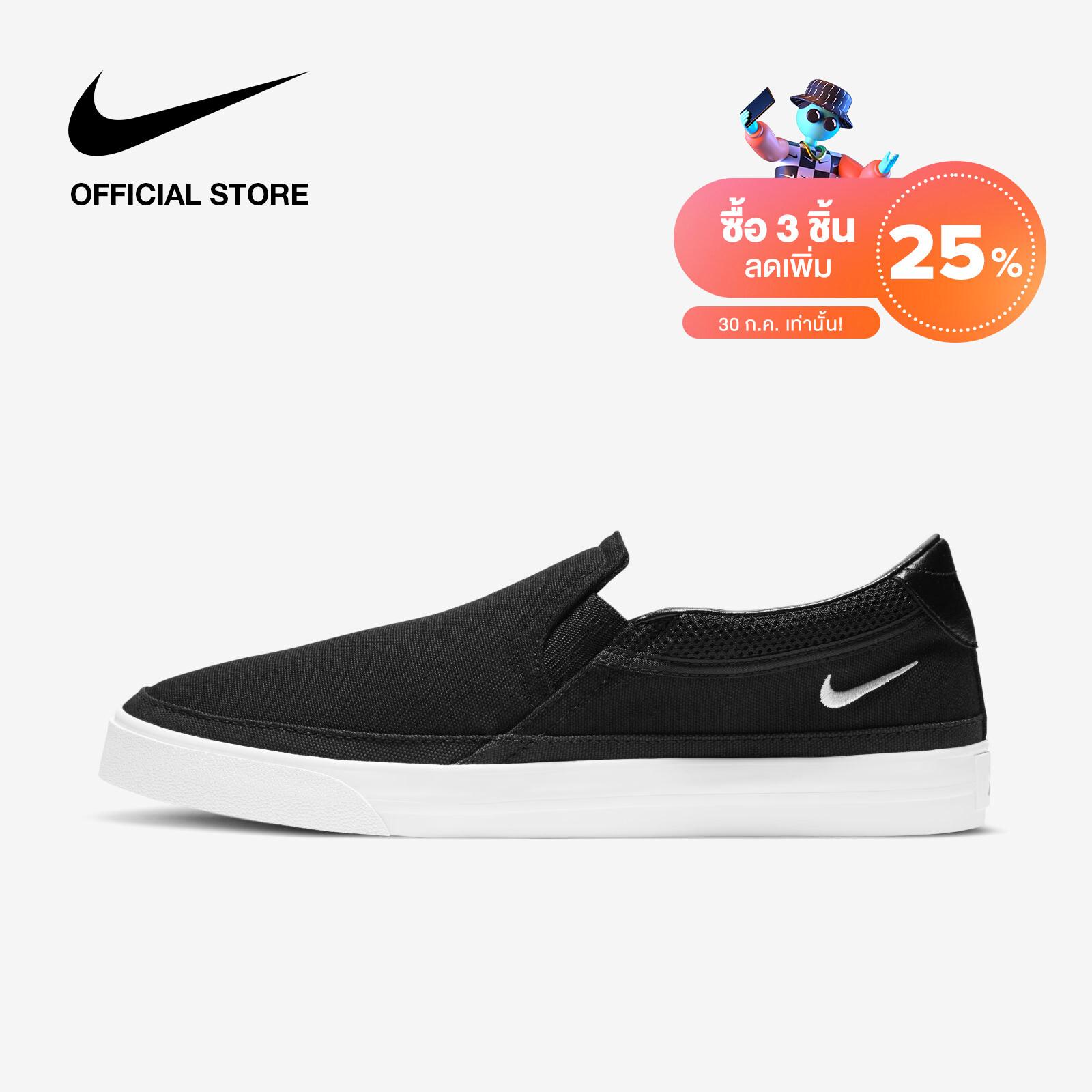 Nike Womens court Legacy Slip-On - Black ไนกี้ รองเท้าลำลองผู้หญิง คอร์ท เลกาซี่ - สีดำ.