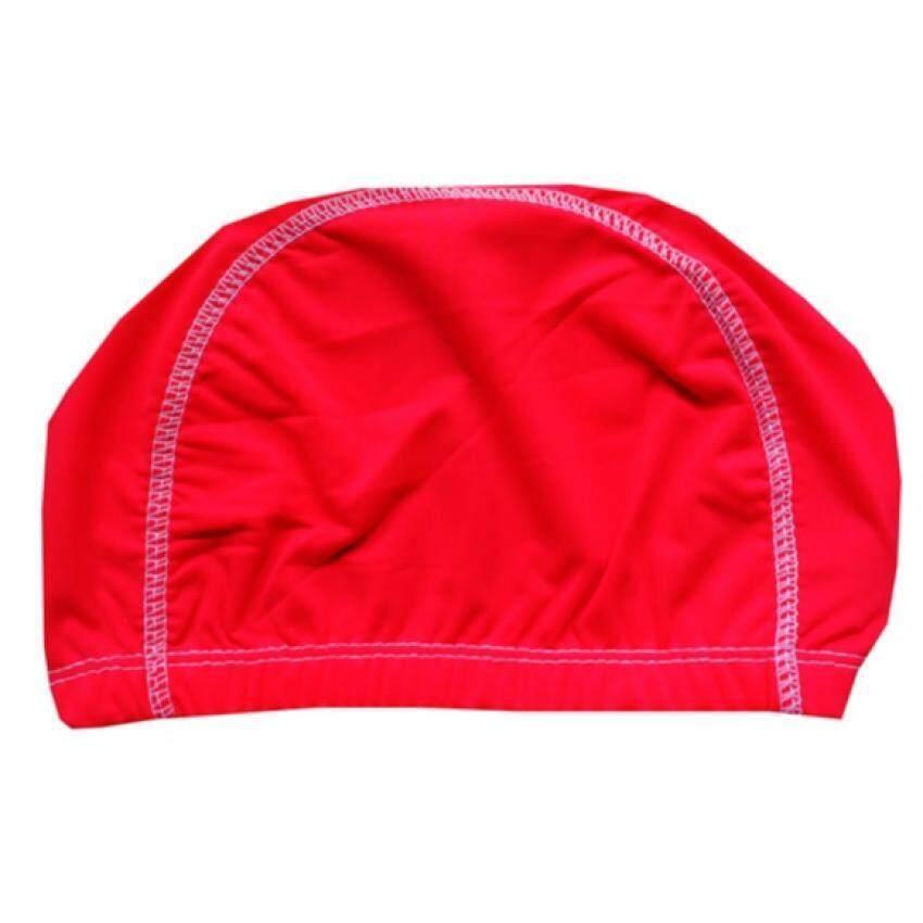 RUJI หมวกว่ายน้ำ หมวกเล่นน้ำ รุ่น SC0038A  สีโอโรส ตะเข็บขาว