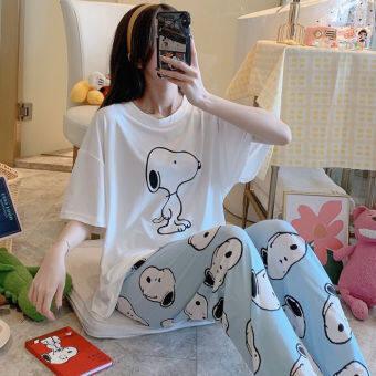 LT.sunday ใหม่[พร้อมส่ง] ชุดนอนผ้าฝ้าย ชุดนอนผู้หญิง คอกลม แขนสั้น&ขายาว ชุดนอนแฟชั่น ลายหมีพู ( มี 2 สีให้เลือก ฟรีไซส์ )