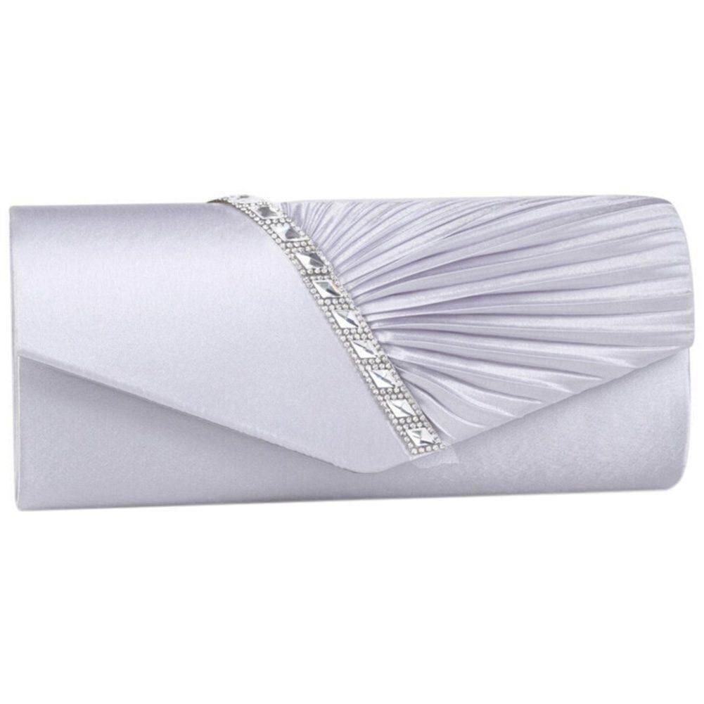 fc6af9e3a0b9 Ladies Diamond Ruffle Party Prom Bridal Evening Envelope Clutch Bag