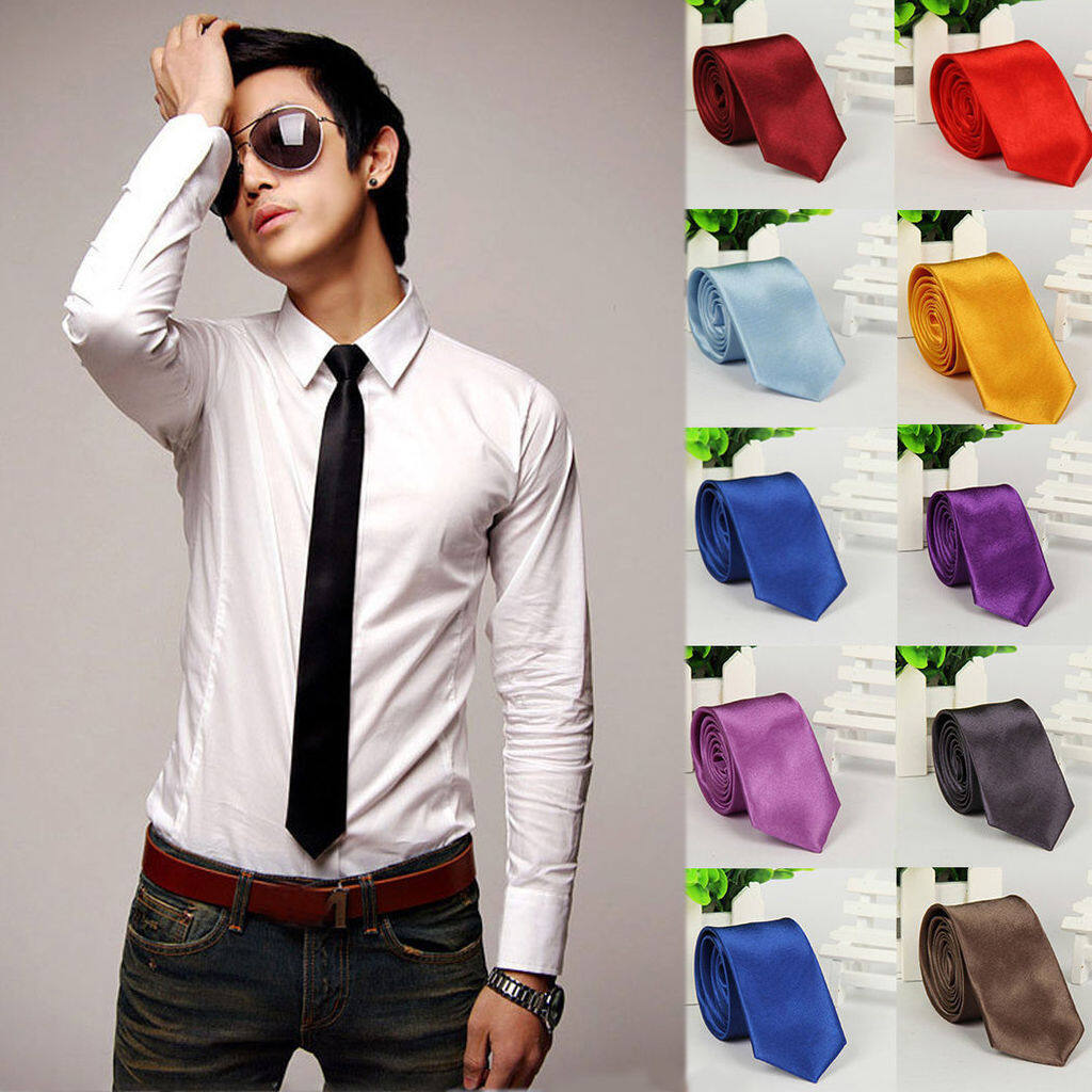 เนคไท Slim Necktie Tie Wedding Classic Jacquard Woven Solid Color Plain Skinny Silk.