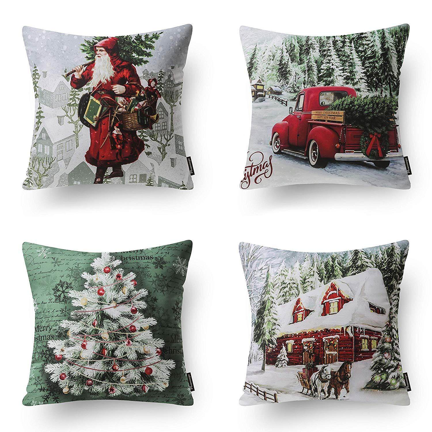 4 New Merry Christmas Modern Santa Clause Throw Pillow Case Cushion Cover By Ertic.