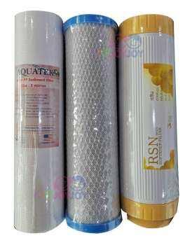 AQUATEK ชุดไส้กรองน้ำ 3 ขั้นตอน ขนาด10นิ้ว PP-Carbon Block-Resin