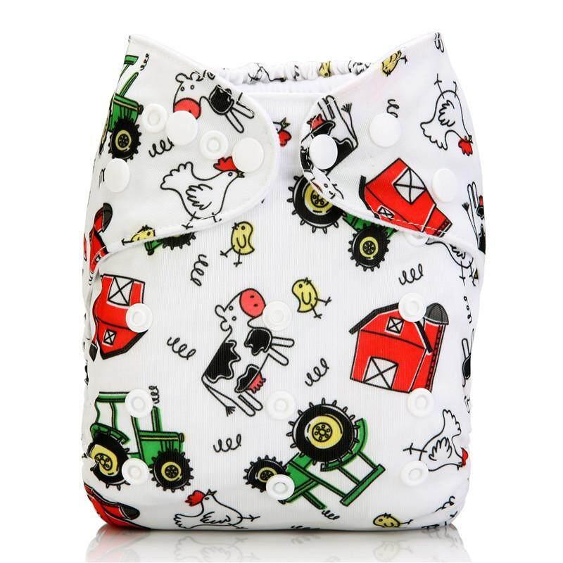กางเกง ผ้าอ้อม เด็ก แบบซักได้/ กันน้ำ ได้ ฟรี แผ่น ซับ แบมบู 4 ชั้น, ลาย ฟาร์ม   Pocket Cloth Diaper/nappy, Waterproof With 4-Layer Bamboo Insert, Farm Design.
