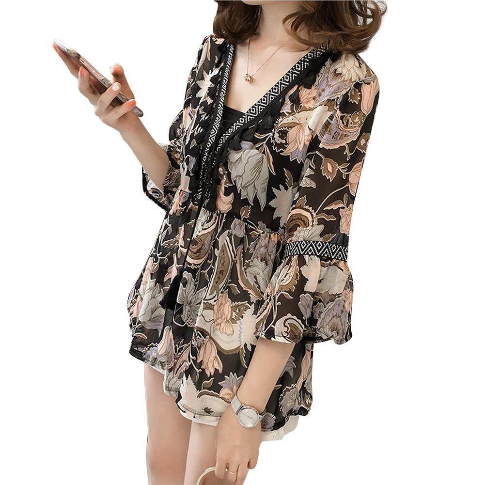 4d30dde74fcf82 SZWL Women Fashion Printing V-neck Pagoda Sleeve Chiffon T-shirt