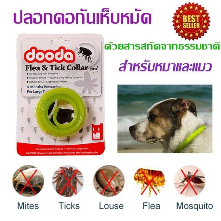 ปลอกคอกันเห็บ หมัด Dooda Flea & Tick Collar Pro ป้องกันกำจัดเห็บหมัด ยุง และแมลงที่มากวนสัตว์เลิ้ยงแสนรัก ด้วยสารสกัดจากธรรมชาติ เหมาะสำหรับหมา แมว สุนัข ไม่เป็นอันตรายต่อสัตว์เลิ้ยง ใช้งานได้ 4 เดือน (สีเขียว) By Masha.