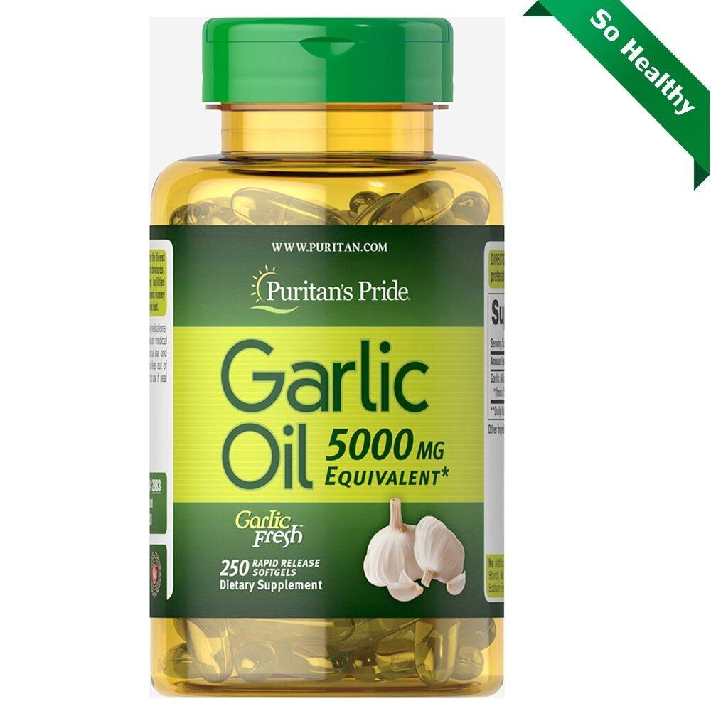 Puritan Garlic Oil 5000 Mg. / 250 Rapid Release Softgels น้ำมันกระเทียมสกัดไร้กลิ่น.