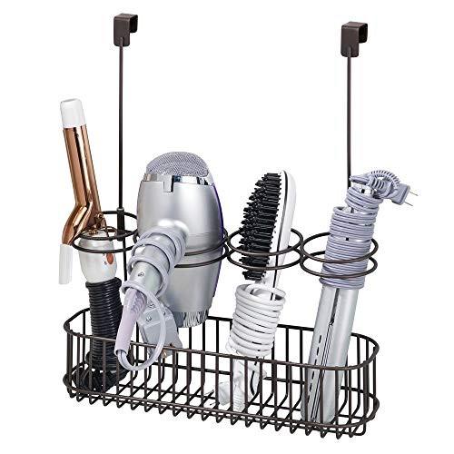 mDesign Hair Dryer /& Accessory Storage Holder for Bathroom Vanity Countertop Soft Brass