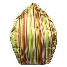 ส่วนลด ฺbeanbagthailand เก้าอี้ทรงหยดน้ำ รุ่น Beanbag ลายทางสีส้ม เขียว Dia 80 Cm