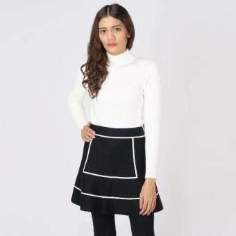 Squareladies เสื้อไหมพรม เสื้อสเวตเตอร์คอเต่าแขนยาว เสื้อกันหนาวแขนยาว เสื้อไหมพรมคอเต่า เสื้อไหมพรมแขนยาว No.T-076 (ขาว)
