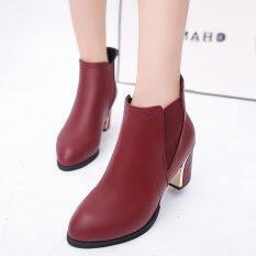 ส่วนลด สินค้า European Boots Women S Boots Wild Fashion Plain Shoes Red