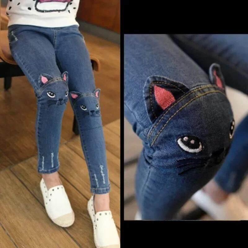 กางยีนส์ผ้ายืด ปักลายที่เข่า แฟชั่น Niuzaiku-Tuzi (ของเด็ก) By Lady Fashion.