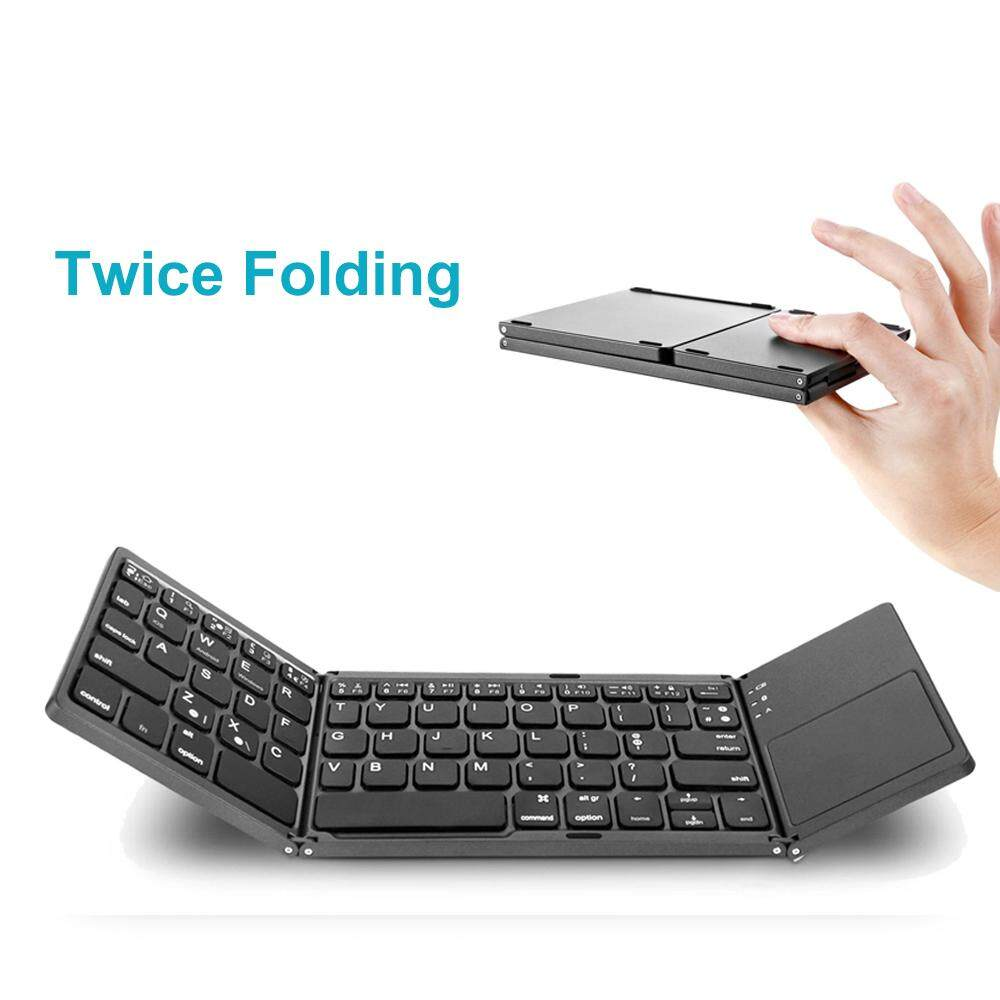 Asc คีย์บอร์ด Bluetooth พับได้ A18 Portable Twice Folding Bluetooth Keyboard Bt Wireless Foldable Touchpad Keypad For Ios/android/windows Ipad Tablet.