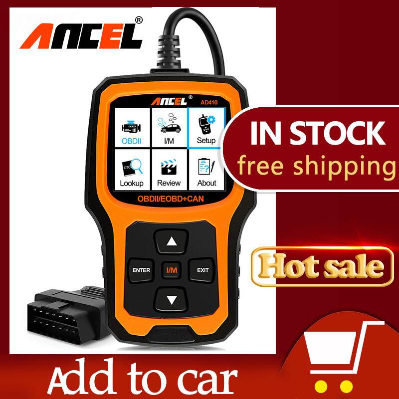 Ancel Ad410 Obd2 เครื่องสแกนเนอร์ Professional เครื่องวิเคราะห์ตรวจสอบเครื่องยนต์อ่าน Clear Fault เครื่องอ่านโค้ดอายุการใช้งานฟรี Update Odb 2 ยานยนต์ Auto Scan.
