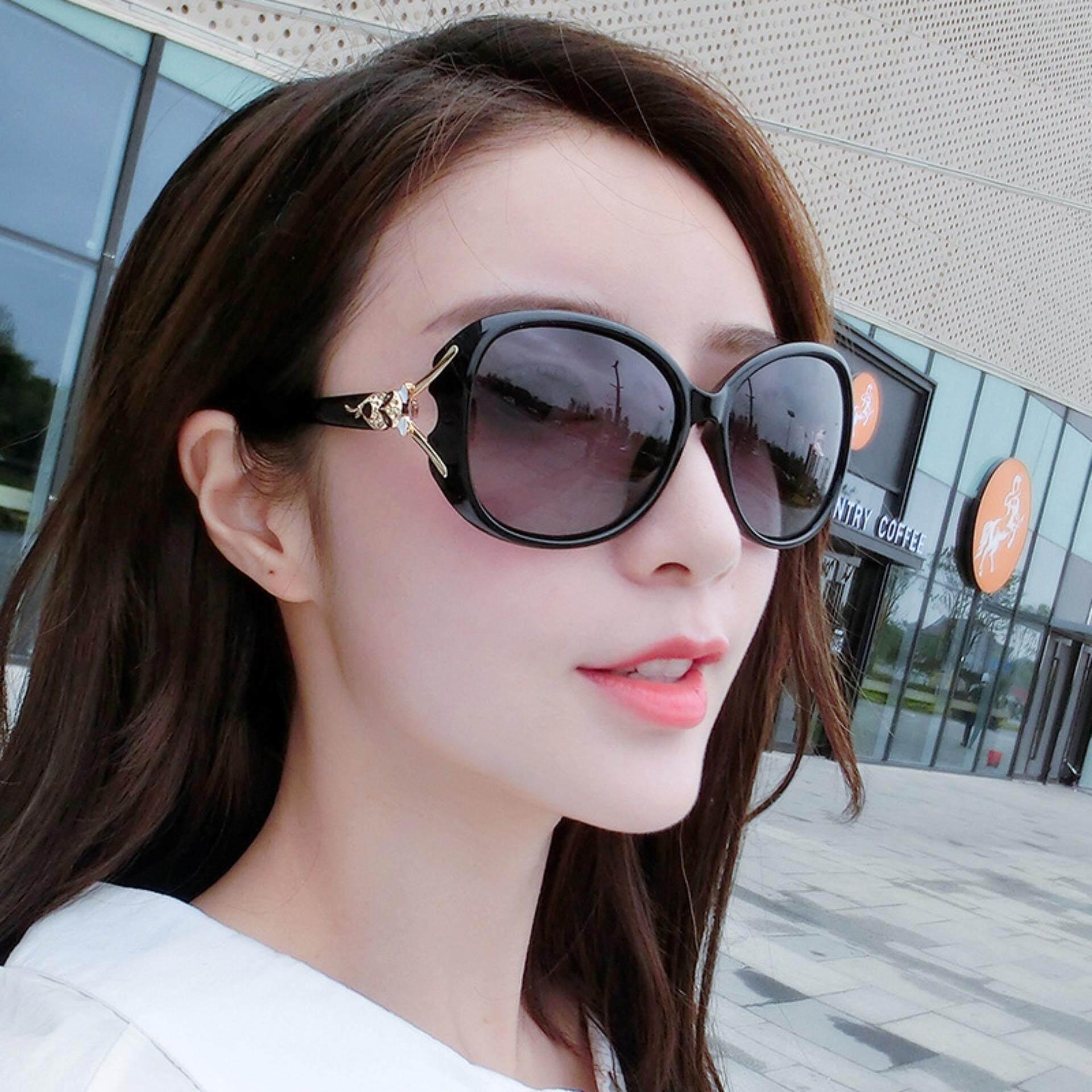 (ฟรี!!! กล่องใส่แว่น) แว่นตาแฟชั่นผู้หญิง แว่นตาแฟชั่นสวยๆ สไตล์เกาหลี หัวจิ้งจอก นำเข้า Black.
