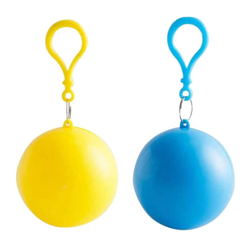 Giá bán 2 Set Disposable Portable Raincoat Keyring Ball Raincoat Unisex Raincoat, Yellow & Blue