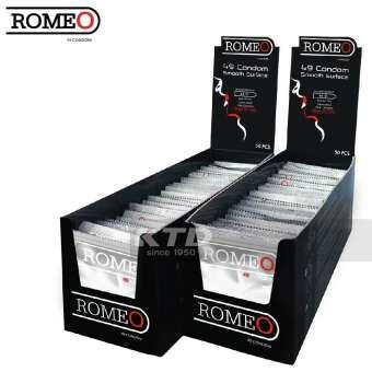 ถุงยางอนามัย Romeo ผิวเรียบ ขนาด 49 mm. 100 ชิ้น-