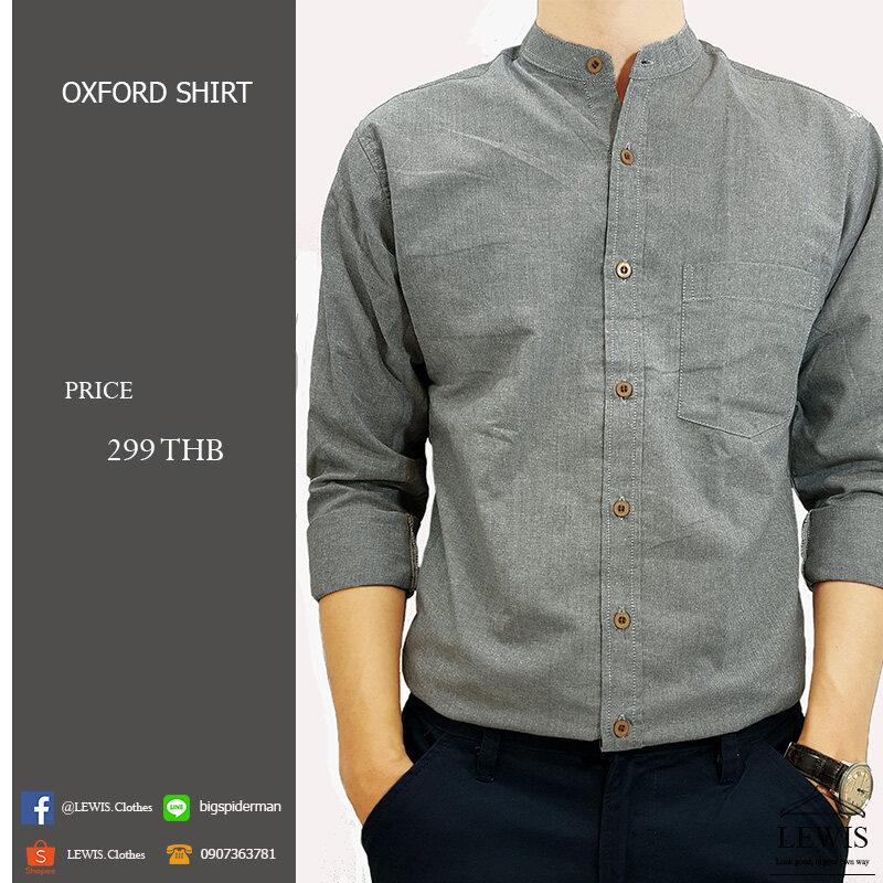 เสื้อเชิ้ตคอจีน สีเทา ผ้า Oxford สินค้าคุณภาพ.