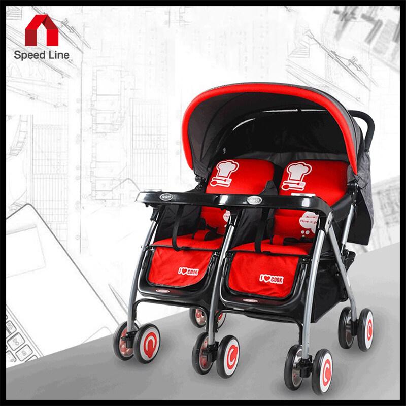 (ในสต็อกจัดส่งที่รวดเร็ว)รถเข็นเด็กแฝด - สีดำ/แดง ปรับเอนนอนแยกได้ พับเก็บแบนเรียบ.