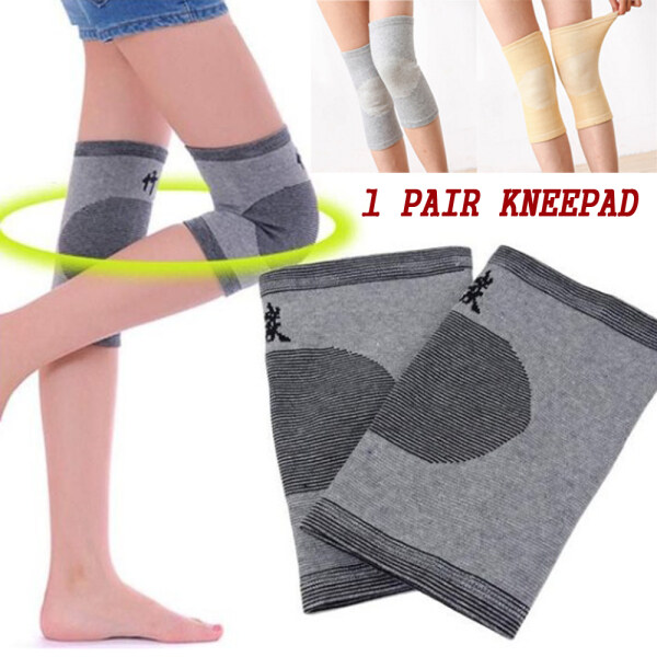 VKLMP 1Pair Knitted Safety Bamboo Charcoal Bandage Riding Sports Knee Guard Support Protector Gym Sleeve Knee Pads