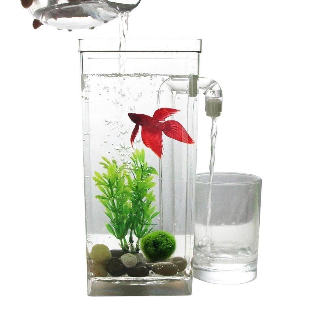 Led Mini Fish Tank Aquarium Self Cleaning Fish Tank Bowl Convenient Desk Aquarium For Office Home Decoration Pet Accessories By Ycitc.
