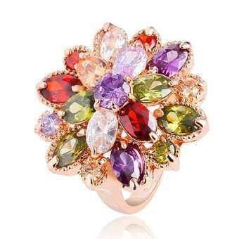 Phoenix B2C Lady's 18 พันชุบทองแหวนโลหะผสม Cubic Zirconia สีสันคริสตัลดอกไม้ที่โดดเด่น-