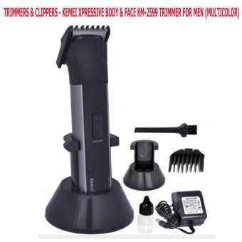 Kemei ปัตตาเลี่ยนตัดผม แต่งหนวด แต่งเครา ตัดผมเด็ก ตัวเล็กไร้สาย ชาร์ตไฟได้ รุ่น KM-2599 (Black&White) Kemei KM-2599 Professional Rechargeable Battery Electric Hair Clipper Trimmer Razor Cordless Adjustable Clipper-