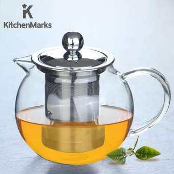 HomeHuk กาน้ำชา กาชงชาทรงกลมอ้วนปากสั้น ไส้กรอกสแตนเลส ช่องระบายไอน้ำ 3 รู ความจุ 650 มล. Glass Short-Spout Round Infuser Teapot 650ml โฮมฮัก