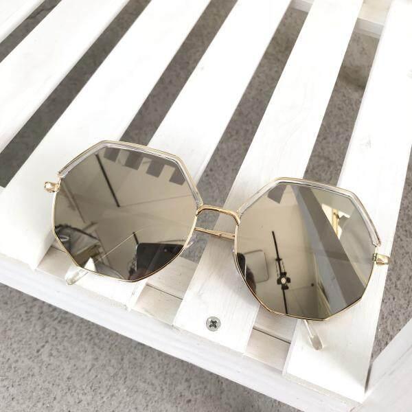 Kacamata hitam wanita 2018 Korea Selatan kepribadian Retro modis bingkai besar kacamata Terlihat Langsing Gaya Hong Kong netral Polygon kacamata hitam pasang