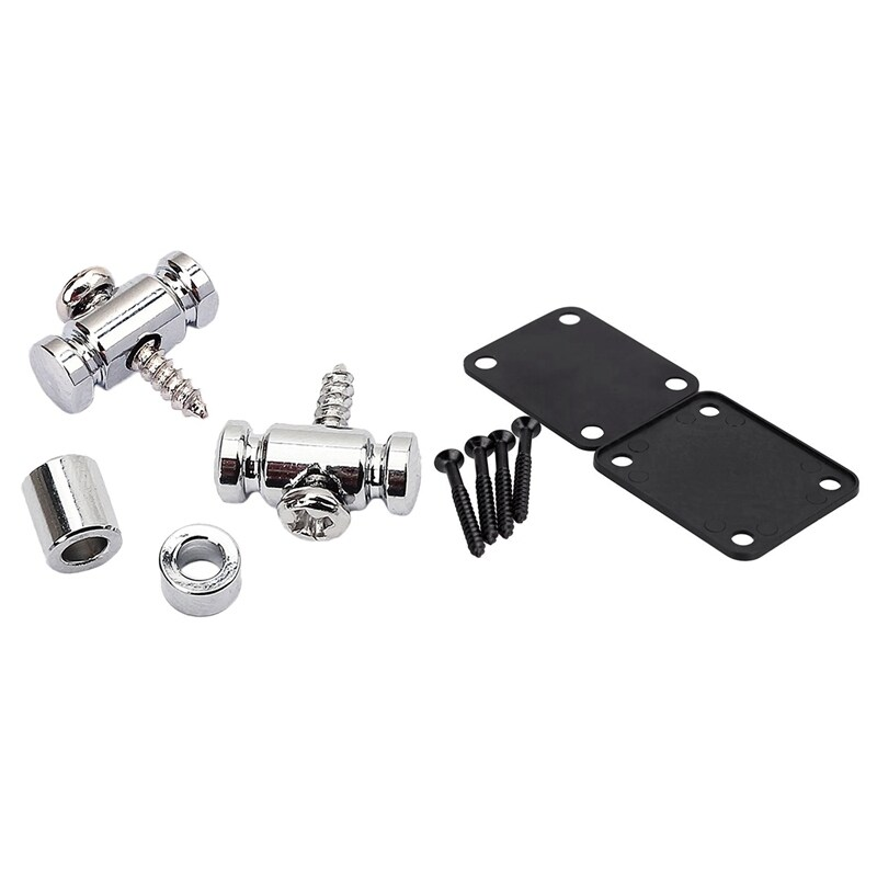 2 Pcs Roller String Tree for Guitar Electric Acoustic Box Accessories Chrome & 1 Pcs Black Chrome Plated Guitar Neck Plate with 4 Screws for Electric Fender Strat Tele
