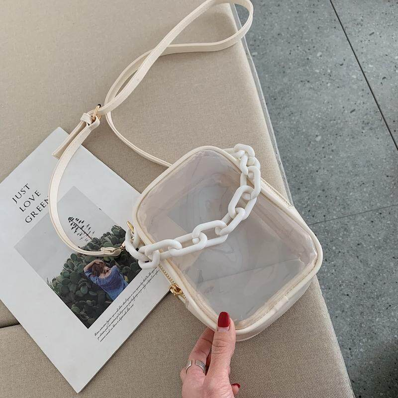 Transparent Bags Womens Bag New Style 2019 Fashion Gel Bag PVC Mori Style Korean Style Fresh Shoulder Square Sling Bag