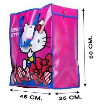 กระเป๋ากระสอบ ราคาส่ง ทักแชท กระเป๋า ลิขสิทธิ์ size M ลาย Hello Kitty รุ่น C207_K1  กระเป๋าพับได้ ถุงกระสอบ กระเป๋าแม่ค้า IKEA กระเป๋ากันน้ำ