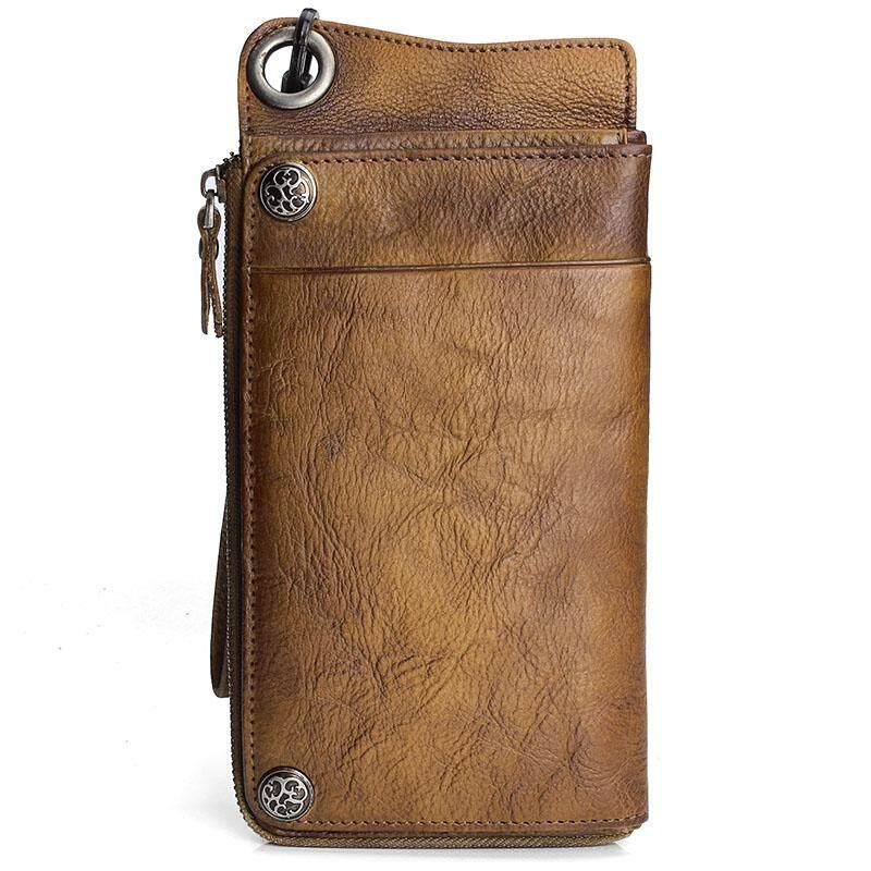 Buatan tangan kulit sapi dompet model panjang Retro Vintage Dompet multi  kartu tas tangan pria Kulit 34aa68499f