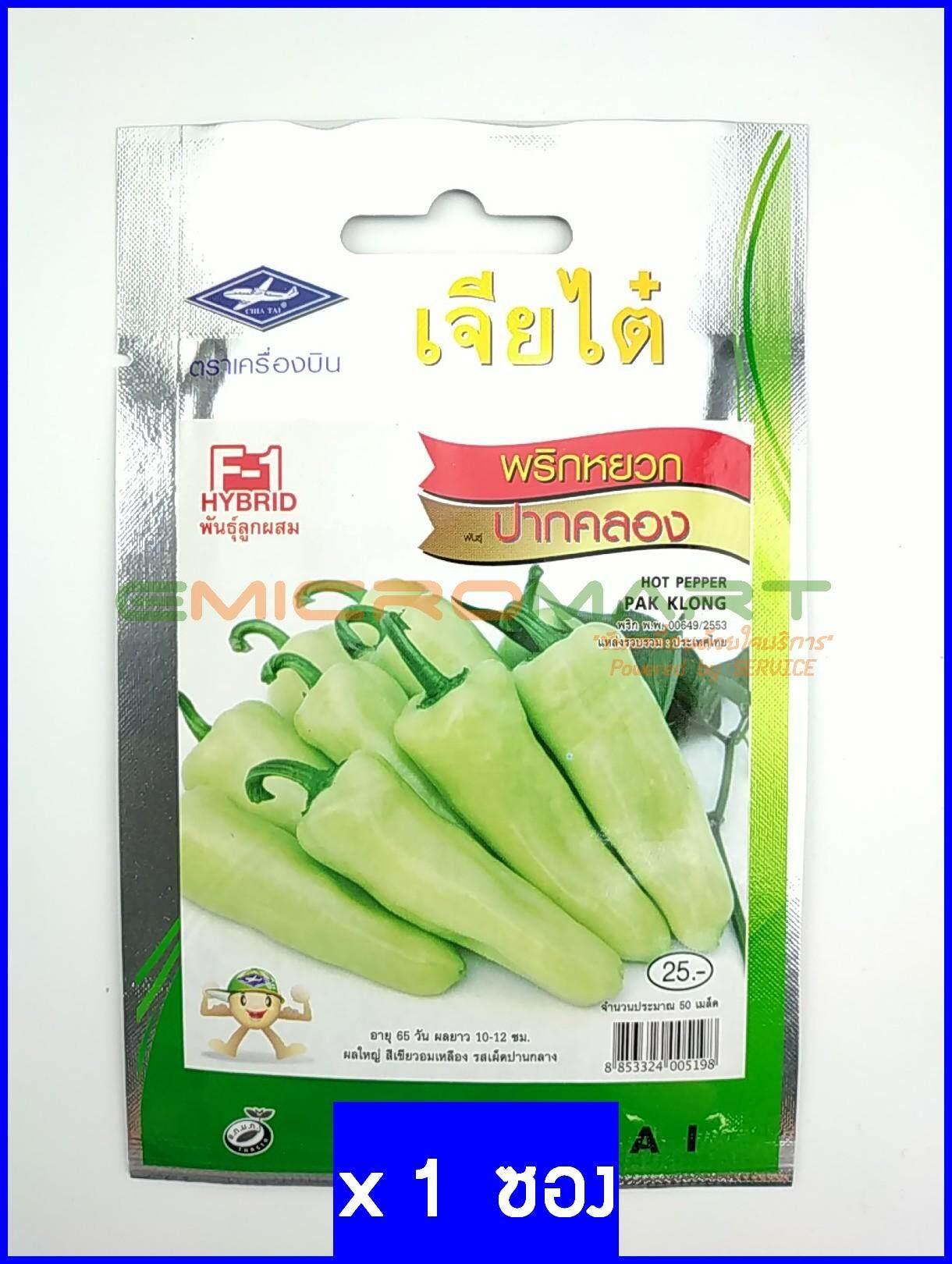 เจียไต๋ ตราเครื่องบิน พริกหยวก ปากคลอง (Pepper Pak Klong) เมล็ดพันธุ์ เมล็ดพันธุ์ผัก เมล็ดพันธุ์พืช ผักสวนครัว