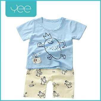 YeeShop ชุดเสื้อผ้าเด็กผู้ชาย/เด็กผู้หญิงแขนสั้นเข้าชุด  ลายมันฝรั่งใส่มงกุฎ สีฟ้า  ไซส์ 90#/S 100#/M 110#/L 120#/XL-
