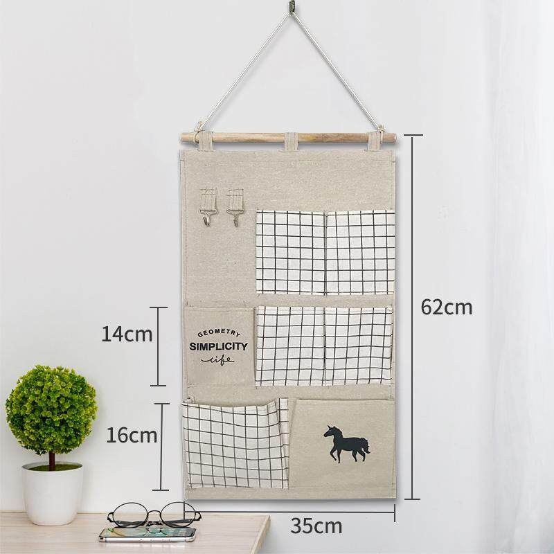 Fabric Wall Hanging Dormitory Hanging Storage Bag Hanging Wall Hangers Pocket Closet Door Hanging of Small Storage Bag