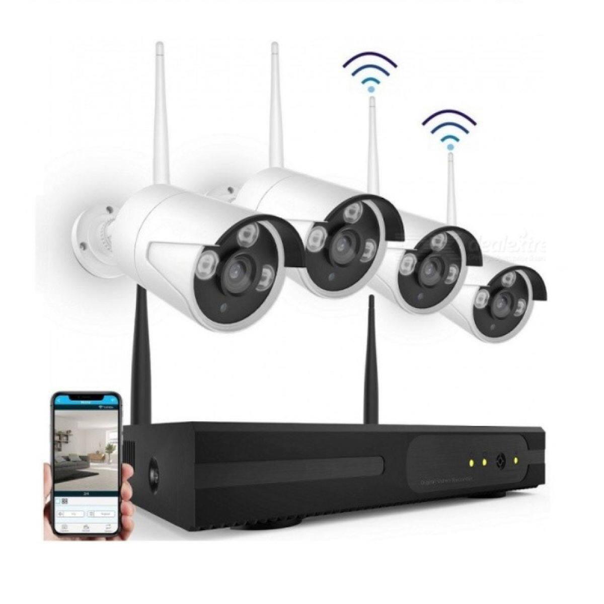 YIFAN ชุดกล้องวงจรปิดไร้สาย 4 CH FHD 1080P CCTV WiFi/Wireless Kit 2.0 MP 2 ล้านพิกเซล กล้อง IP Camera 4 ตัว พร้อมเครื่องบันทึก NVR / Day&Night / อินฟราเรด ดูออนไลน์ผ่านโทรศัพท์มือถือได้ทุกที่ทุกเวลา