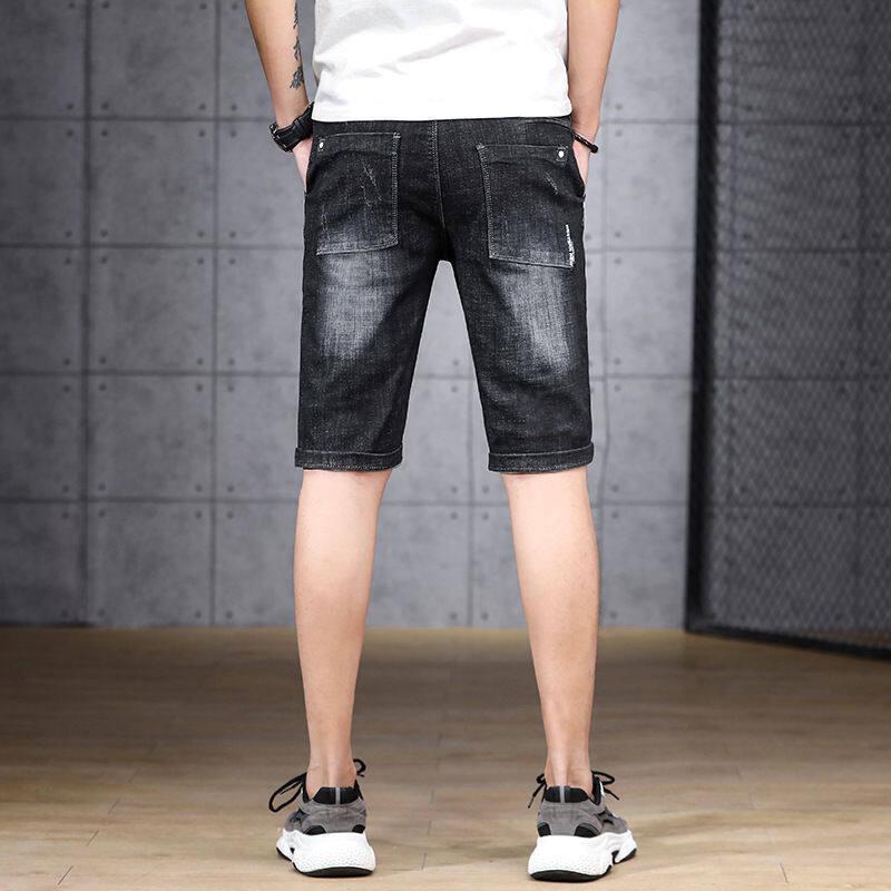 หลุม 2020 กางเกงยีนส์ผู้ชายกางเกงขาสั้นผ้ายีนส์สลิมฟิตบางส่วนของผู้ชายสวมใส่แรงยืดหยุ่นกางเกงห้าจุด