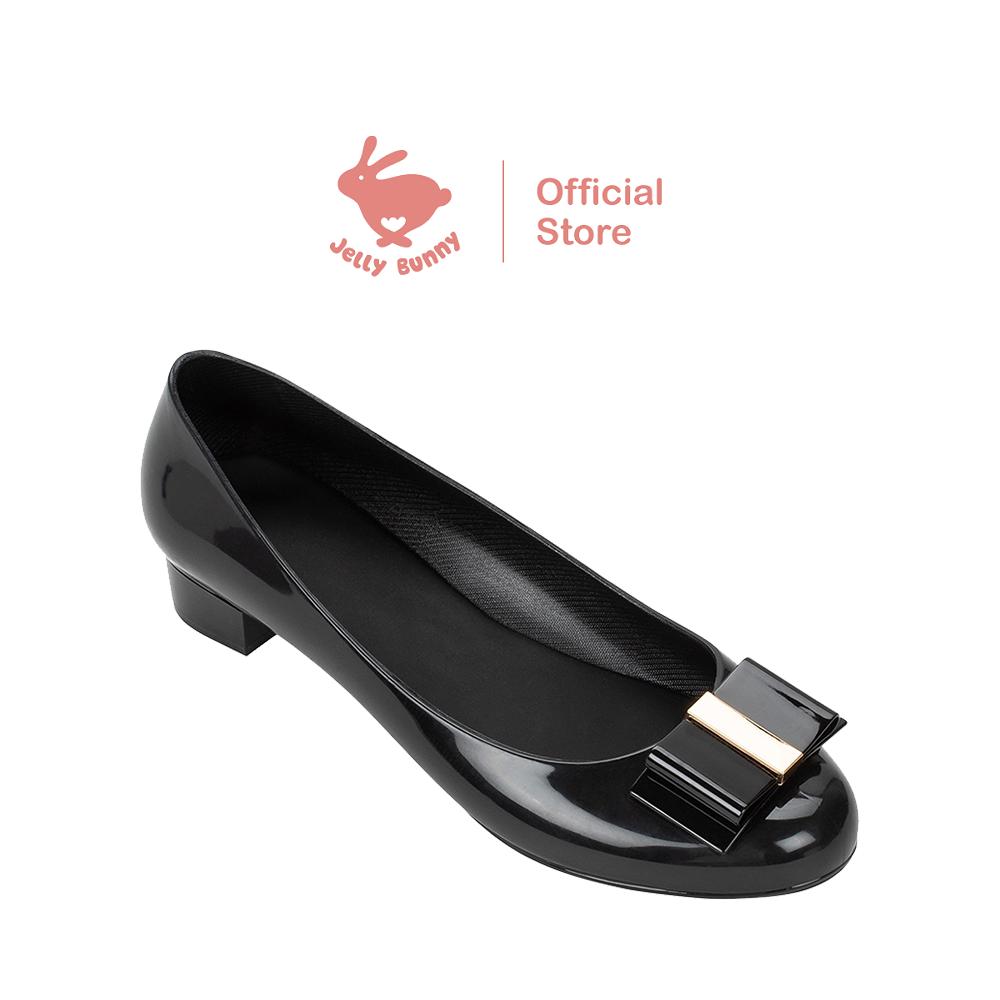 Jelly Bunny Evian Low Heel Ballet Pumps (black).