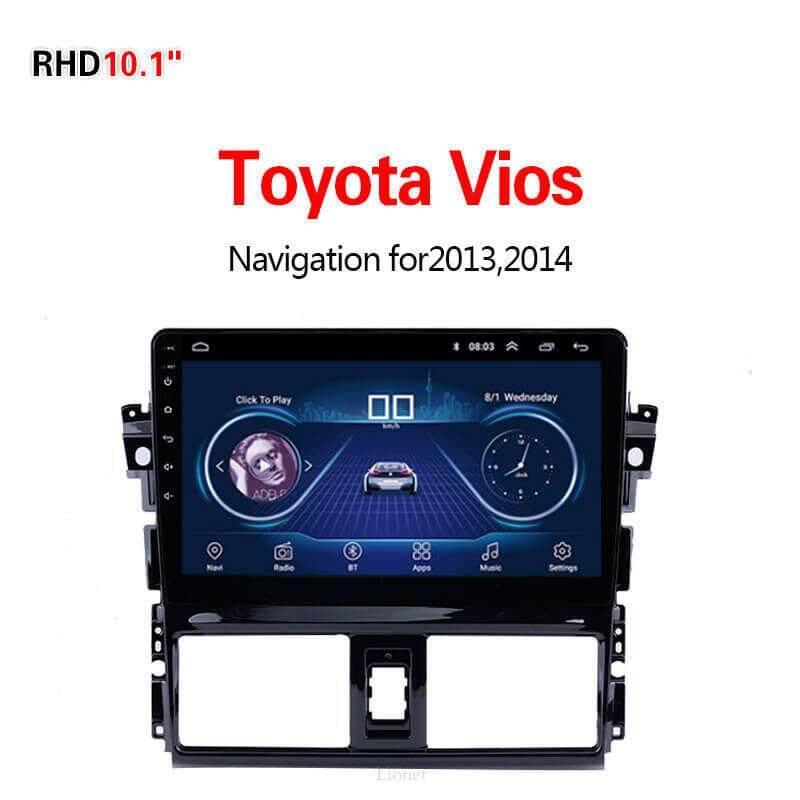 เครื่องนำทาง สำหรับรถยนต์ Toyota Vios 2013-2014 10.1 Inch Android 8.1 Wifi 1g/16g แผนที่ในการนำทาง By Gointer.