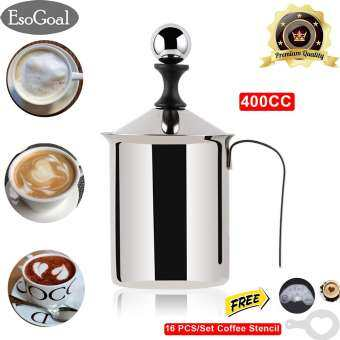 EsoGoal ถ้วยปั๊มฟองนม ขนาด  ถ้วยตีฟองนม เครื่องทำฟองนม ที่ตีฟองนม Manual Milk Frother Foamer Stainless Steel Cappuccino Coffee Creamer Foam Pitcher with Handle and Lid Double Mesh 400CC/800CC-