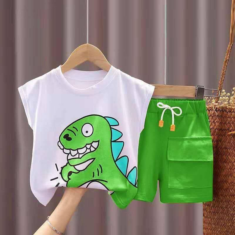 ชุดเสื้อกั๊กเด็กฤดูร้อนสำหรับเด็ก เด็กชายและเด็กสไตล์ตะวันตกสองชิ้นเด็กหล่อแขนกุดเสื้อผ้าบางๆ【7เดือน25day After】.