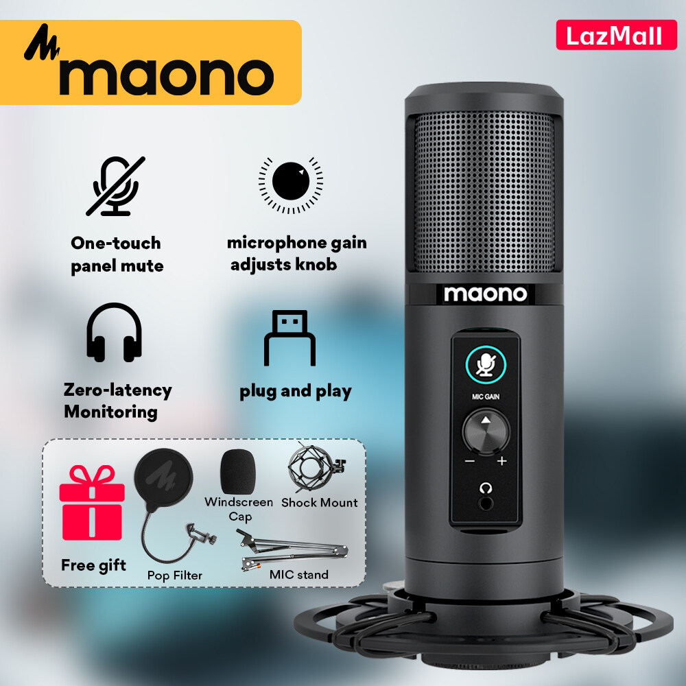Maono-PM422 ไมค์อัดเสียง ไมค์โครโฟน Condenser Microphone พร้อม ขาตั้งไมค์โครโฟน และอุปกรณ์เสริม มืออาชีพ USB คอนเดนเซอร์ไมโครโฟน cardioid คอมพิวเตอร์ไมค์ด้วยสัมผัสปุ่มปิดเสียงและไมค์กำไรลูกบิดสำหรับ Tik Tok พอดคาสต์