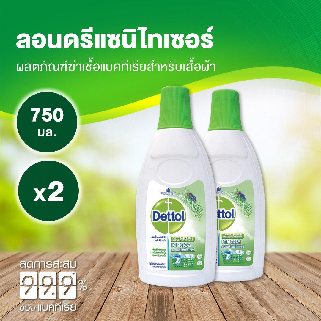 เดทตอล น้ำยาทำความสะอาด ลอนดรี แซนิไทเซอร์ 750 มล. (2ขวด)