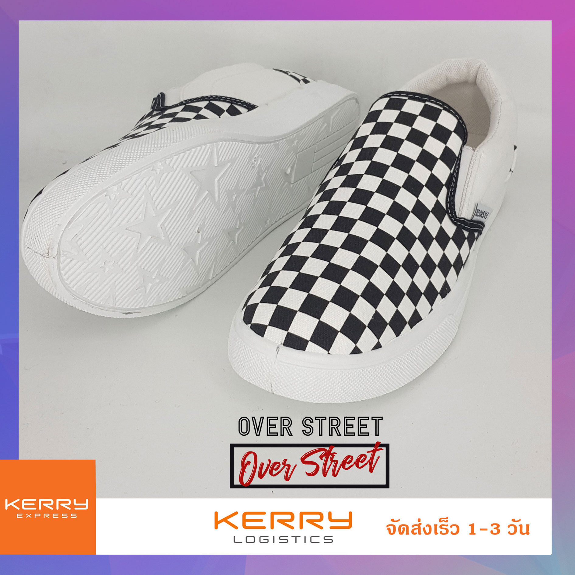 Overstreet รองเท้าผ้าใบผู้ชาย ลายตารางหมากรุก (checker) Slip On (สลิปออน) ไร้เชือก รุ่นฮิตตลอดกาล ออกเที่ยวเท่ๆ แนวstreet !!!!.