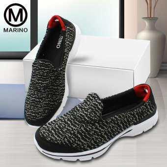 Marino รองเท้า รองเท้าผ้าใบ รองเท้าหุ้มส้น ผ้าใบ สลิปออน รองเท้าผ้าใบสีชมพูสำหรับผู้หญิง รองเท้าพื้นเมมโมรี่โฟม No.A031 - BlackGray