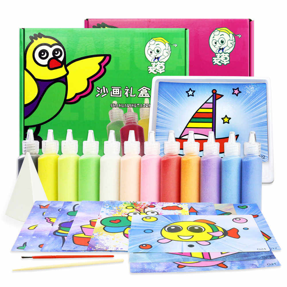Children Sand Painting Suit Diy Manual Make Alpinia Toys Originality Sand Painting Gift Prize