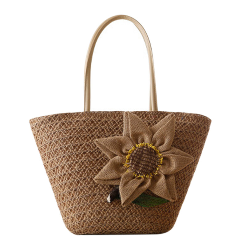 Summer Straw Beach Bag With Sunflower Woven Handmade Rattan Bags Female Travel Totes For Women Bag Bohemian Ladies Handbags