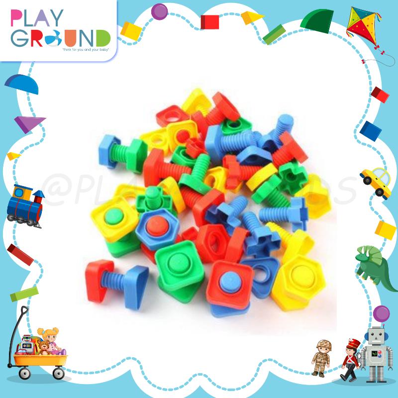 Playground ร้อยเชือกเสริมสมาธิเด็ก แบบ น๊อต Funny Block.