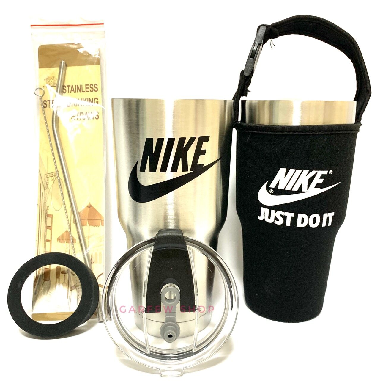 Gf แก้วเยติ เก็บอุณหภูมิ ร้อน เย็น ลาย Nike ไนกี้ สีแสตนเลส ฟรี !! ถุงใส่แก้ว + หลอดแสตนเลส พร้อมแปรงล้าง + ยางรองแก้ว (คละสี).